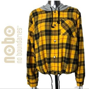 No Boundaries Flannel Yellow Plaid Hood Jacket XXL